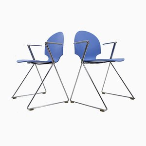 Danish Chromed Steel Dining Chairs from Fritz Hansen, 1987, Set of 2