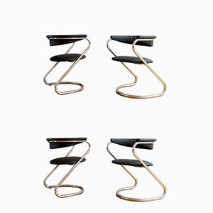 Italian Modern Chrome & Vinyl Dining Chairs, 1970s, Set of 4
