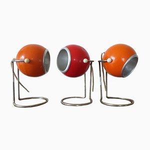 Mid-Century Space Age Tischlampen aus Metall, 1970er, 3er Set