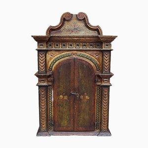 Mobiletto in legno laccato e dipinto, XVIII secolo