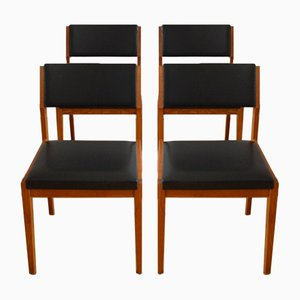 Scandinavian Vinyl & Teak Dining Chairs, 1960s, Set of 4