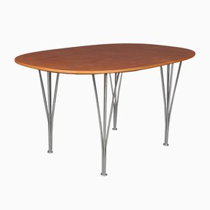 Scandinavian Modern Danish Aluminum and Aniline Leather Dining Table by Piet Hein for Fritz Hansen, 1998