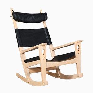Rocking Chair Vintage en Cuir Aniline Noir par Hans J. Wegner