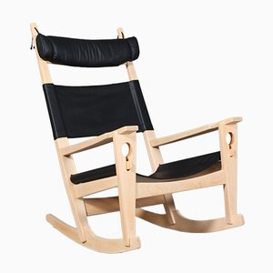 Vintage Black Aniline Leather Rocking Chair by Hans J. Wegner