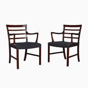 Vintage Armlehnstühle aus Mahagoni von Ole Wanscher, 2er Set
