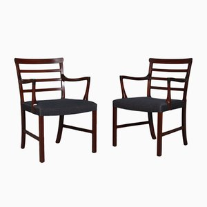 Vintage Mahogany Armchairs by Ole Wanscher, Set of 2