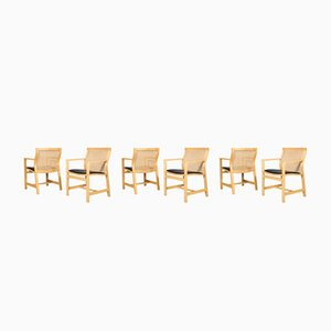 Vintage Solid Ash Armchairs by Rud Thygesen & Johnny Sørensen, Set of 6