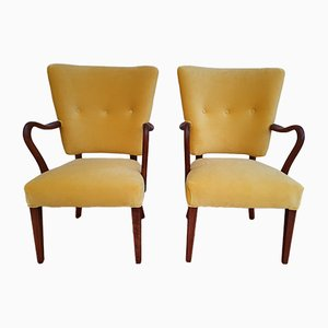 Danish Velour Model 32 Armchairs by Alfred Christensen for Slagelse Møbelværk, 1960s, Set of 2