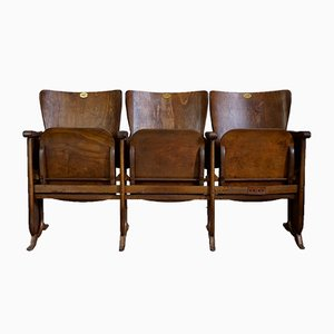 Vintage Art Déco Three-Seater Cinema Bench, 1930s