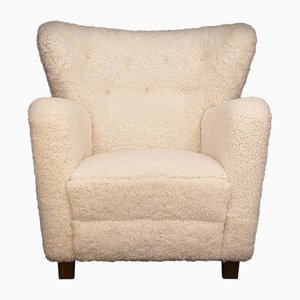 Vintage Danish Sheepskin Easy Chair, 1930s