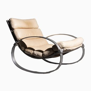 German Aluminum & Leather Rocking Chair by Hans Kaufeld, 1970s