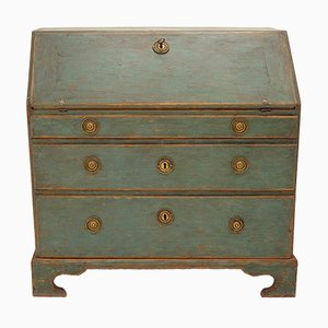 18th-Century Louis XVI Style Swedish Green Wooden Secretaire