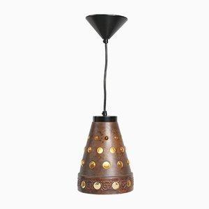 Deutsche Deckenlampe aus Kupfer & Glas von Peill + Putzler, 1960er