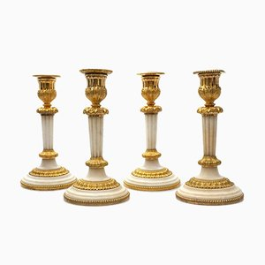 19th Century French Bronze and Marble Candleholders, 1810s, Set of 4