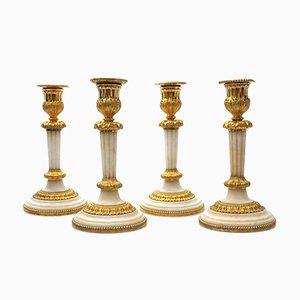 Französische Kerzenhalter aus Bronze & Marmor, 19. Jh., 1810er, 4er Set