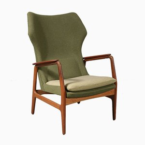 Fabric and Wood High Back Lounge Chair by Aksel Bender Madsen for Bovenkamp, 1950s