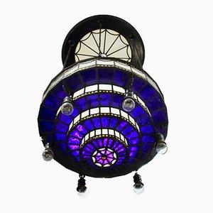 Lampe Moderniste Vintage en Verre Opalin Bleu et Blanc