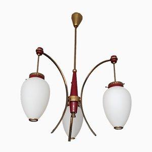 Italian Brass & Opaline Glass Ceiling Lamp, 1950s