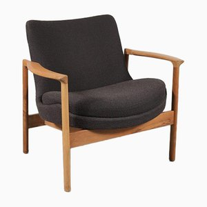Danish Fabric and Wood Lounge Chair by Kofod Larsen for Fröscher KG, 1960s