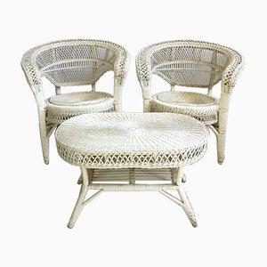 Vintage Set mit Armlehnstühlen und Tisch, 1970er