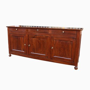 Antique French 19th Century Louis Philippe Walnut 3-Door Sideboard