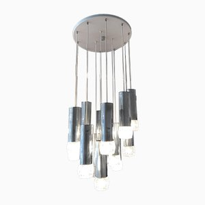 Large Vintage Plastic & Chrome 13-Light Cascade Ceiling Lamp, 1970s