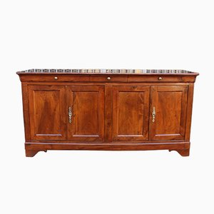 Antique French 19th Century Louis Philippe Walnut 4-Door Sideboard