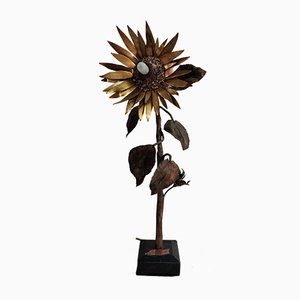 Vintage Brass and Copper Sunflower Table Lamp, 1970s