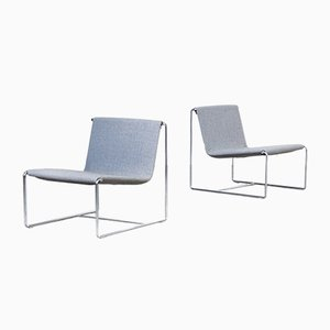 Italian Chrome Plating and Fabric Drop Lounge Chairs by Nanni, Emilio for Zanotta, 2000s, Set of 2