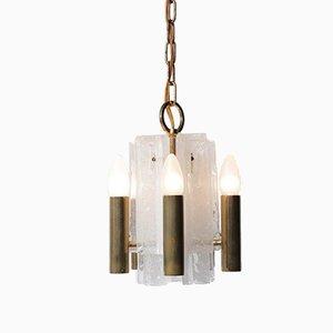 Kleine italienische Deckenlampe aus Messing & Glas von JT Kalmar für Mazzega, 1960er