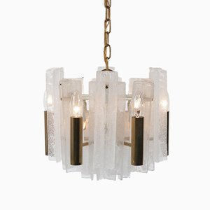 Italian Brass and Glass Ceiling Lamp by J.T. Kalmar for Mazzega, 1960s
