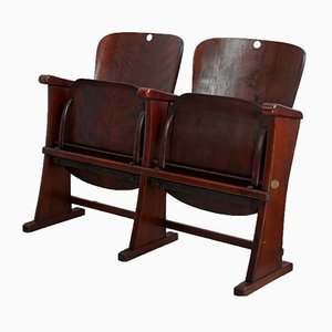 Vintage Art Déco Two-Seater Cinema Bench, 1920s