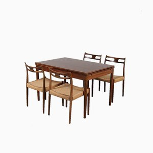 Danish Beech Dining Table & Chairs Set by Moller for J.L. Møllers, 1960s