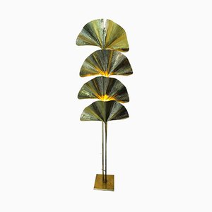 Vintage Brass Ginkgo Floor Lamp by Tommaso Barbi, 1970s