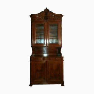 Antique French 19th Century Louis Philippe Walnut Showcase Cabinet