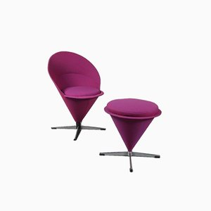 Dänischer Stuhl und Hocker von Verner Panton für Plus Linje, 1960er