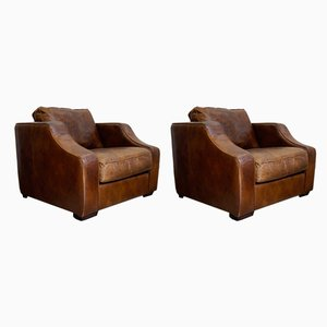Cubic Leather Armchairs, 1970s, Set of 2