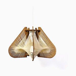 Lampe à Suspension Artisanale Vintage en Contreplaqué et Corde, France, 1960s