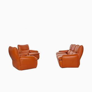 Italian Leather Living Room Set by Martino Perego for Seven Salotti, 1970s
