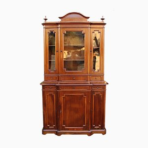 Antique Italian 19th Century Louis Philippe Walnut 6-Door Showcase Cabinet