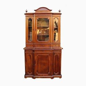 Armoire Vitrée Antique du 19ème Siècle Louis Philippe en Noyer, Italie, 19ème Siècle