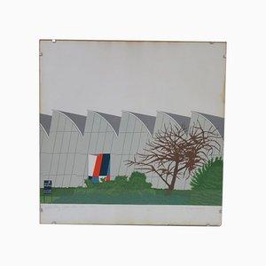 Paravent Vintage en Soie par Kees Vlag, 1970s