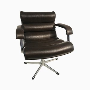 Chrome & Leather Desk Chair, 1970s
