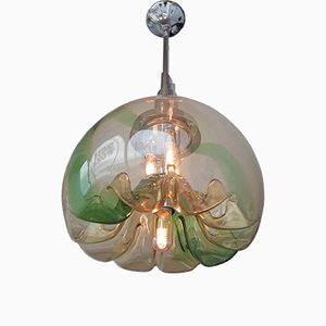 Large Italian Chrome & Hand-Blown Glass Ceiling Lamp by Toni Zuccheri for VeArt, 1970s