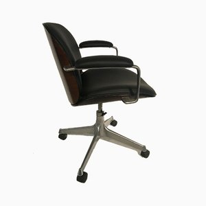 Chrome Plating and Leatherette Desk Chair from MiM, 1970s