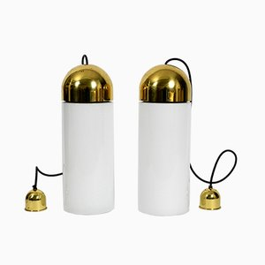 Minimalist German Brass and Glass Ceiling Lamps from Limburg, 1980s, Set of 2