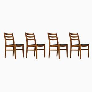 Dänische Esszimmerstühle aus Buche & Öko-Leder, 1970er, 4er Set