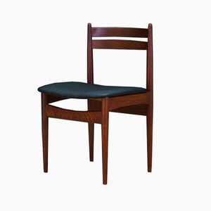 Vintage Danish Leather and Teak Dining Chair, 1970s