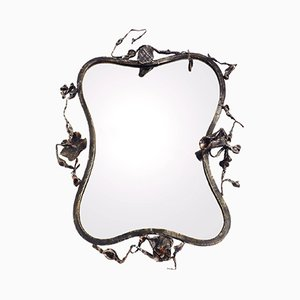 Italian Flowers & Leaves Sculptural Mirror by Salvino Marsura, 1960s