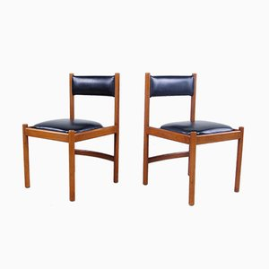 Italian Modern Leather and Wood Dining Chairs from ISA , 1960s, Set of 2